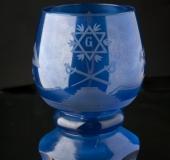 Bohemian glass, blue coating