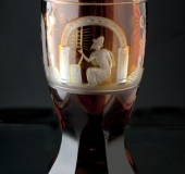 Bohemian glass, red-brown with decorations
